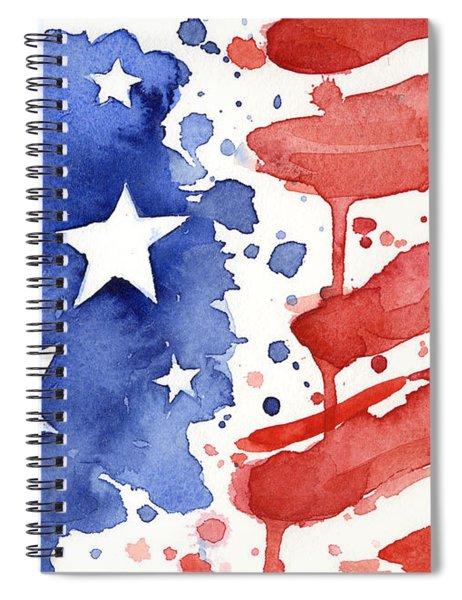 American Flag Watercolor Painting Spiral Notebook by Olga Shvartsur