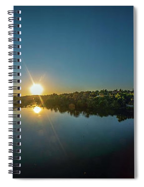 American River At Sunrise - Panorama Spiral Notebook