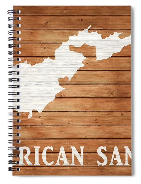 American Samoa Rustic Map On Wood Spiral Notebook