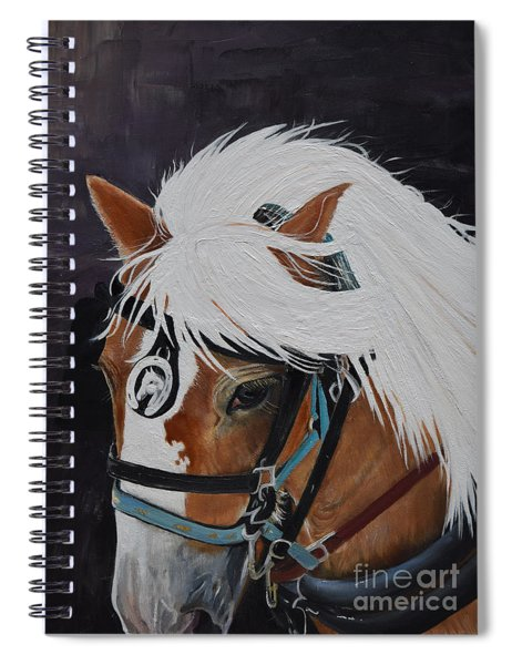 Spiral Notebook featuring the painting Amos - Haflinger - Horse by Jan Dappen