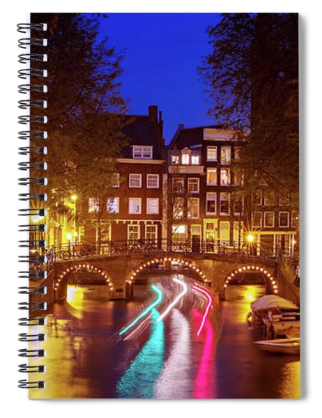 Spiral Notebook featuring the photograph Amsterdam By Night by Barry O Carroll