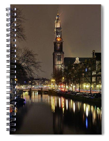 Amsterdam By Night - Prinsengracht Spiral Notebook