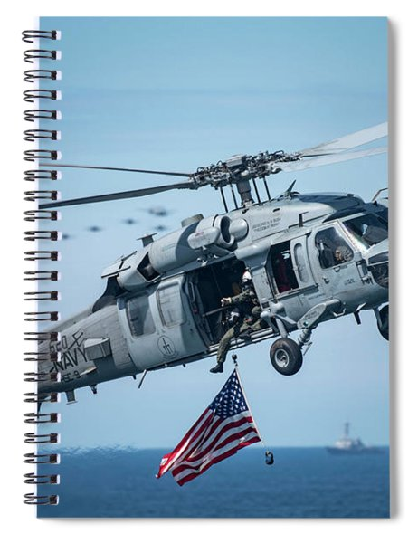 An Mh-60s Sea Hawk Helicopter Displays The American Flag. Spiral Notebook