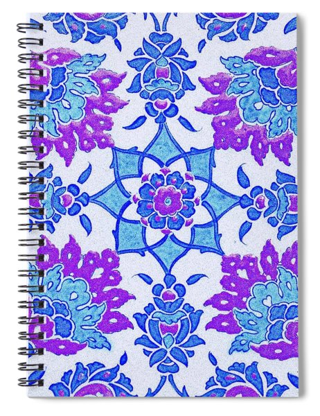 An Ottoman Iznik Style Floral Design Pottery Polychrome, By Adam Asar, No 13i Spiral Notebook