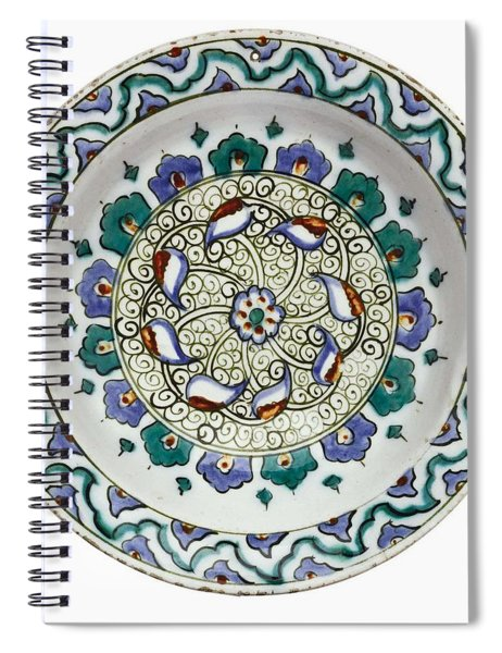 An Ottoman Iznik Style Floral Design Pottery Polychrome, By Adam Asar, No 18 Spiral Notebook
