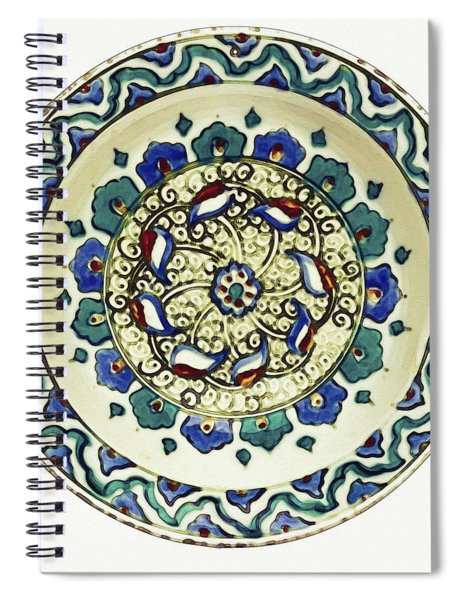An Ottoman Iznik Style Floral Design Pottery Polychrome, By Adam Asar, No 18a Spiral Notebook