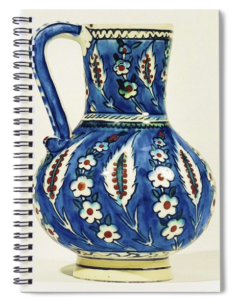 An Ottoman Iznik Style Floral Design Pottery Polychrome, By Adam Asar, No 19a Spiral Notebook