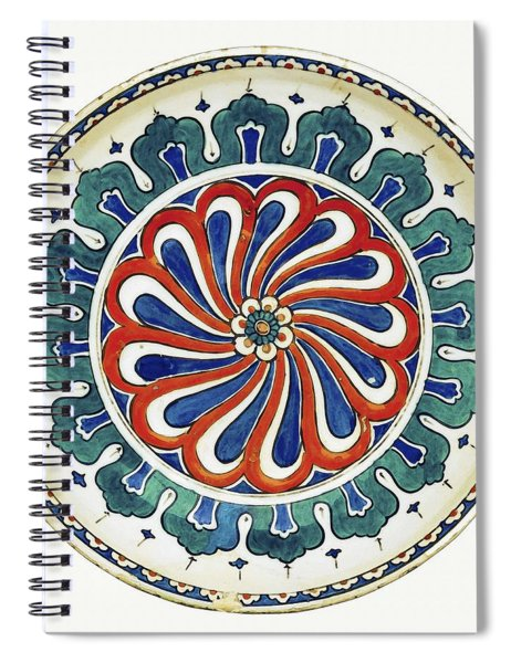 An Ottoman Iznik Style Floral Design Pottery Polychrome, By Adam Asar, No 20a Spiral Notebook