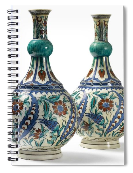 An Ottoman Iznik Style Floral Design Pottery Polychrome, By Adam Asar, No 21 Spiral Notebook