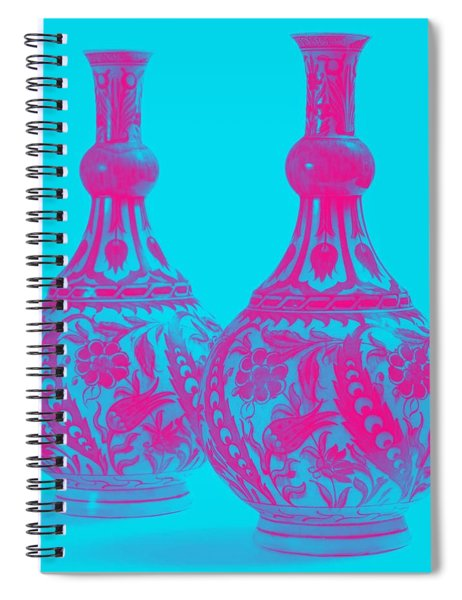 An Ottoman Iznik Style Floral Design Pottery Polychrome, By Adam Asar, No 21b Spiral Notebook