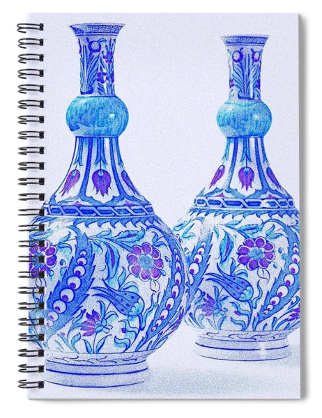 An Ottoman Iznik Style Floral Design Pottery Polychrome, By Adam Asar, No 21c Spiral Notebook