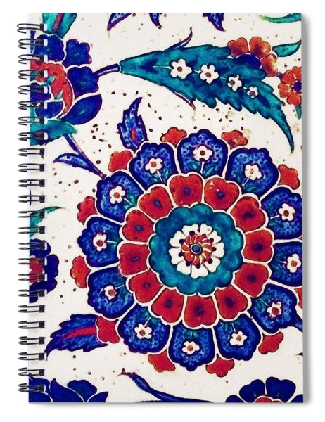 An Ottoman Iznik Style Floral Design Pottery Polychrome, By Adam Asar, No 37 B Spiral Notebook
