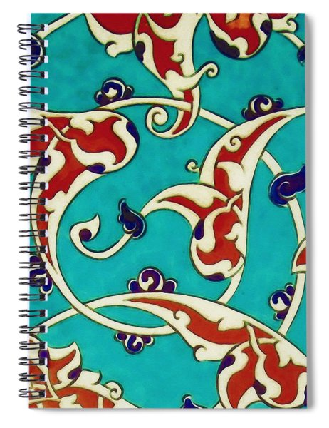 An Ottoman Iznik Style Floral Design Pottery Polychrome, By Adam Asar, No 46a Spiral Notebook