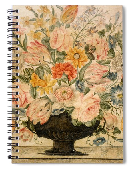 An Urn Containing Flowers On A Ledge Spiral Notebook