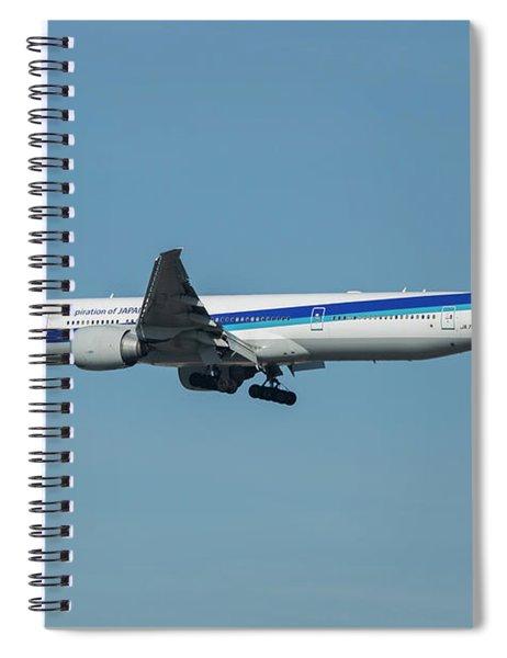A N A Airplane J A 738 A  Boeing 777-381 Landing L A X Los Angeles International Airport Art Spiral Notebook