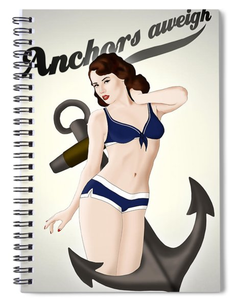 Anchors Aweigh - Classic Pin Up Spiral Notebook