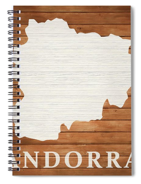 Andorra Rustic Map On Wood Spiral Notebook