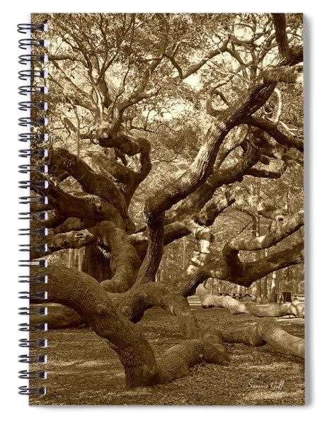 Angel Oak In Sepia Spiral Notebook