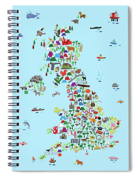 Animal Map Of Great Britain And Ni For Children And Kids Spiral Notebook