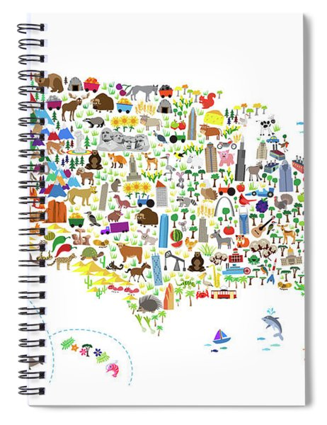 Animal Map Of United States For Children And Kids Spiral Notebook