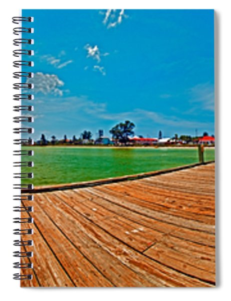 Anna Maria Island Seen From The Historic City Pier Panorama Spiral Notebook