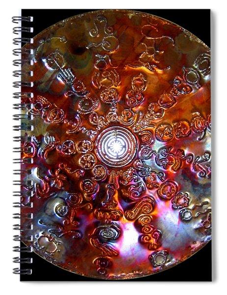 Spiral Notebook featuring the sculpture Antares Copper Lightmandala by Robert Thalmeier