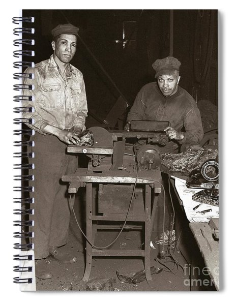 Anthracite Coal Artist  Charles Edgar Patience On Right  1906-1972 In Studio 1953    Spiral Notebook
