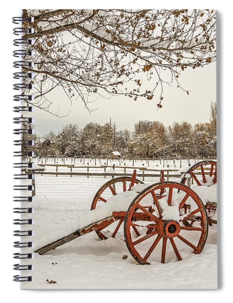 Antique Cart With Snow Spiral Notebook
