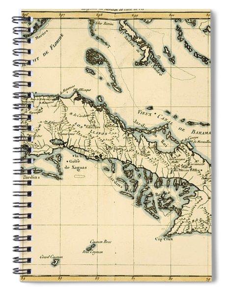 Antique Map Of Cuba Spiral Notebook