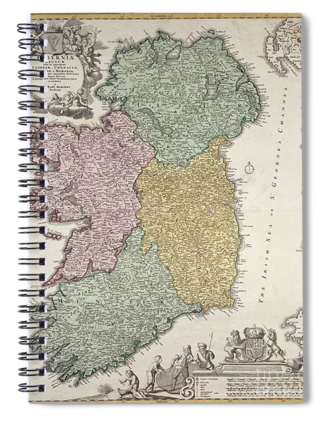 Antique Map Of Ireland Showing The Provinces Spiral Notebook by Johann Baptist Homann
