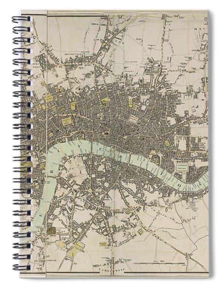 Antique Map Of London - Old Cartographic Maps - London In Miniature, 1807 By Edward Mogg Spiral Notebook