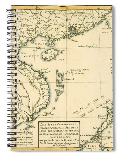 Antique Map Of South East Asia Spiral Notebook
