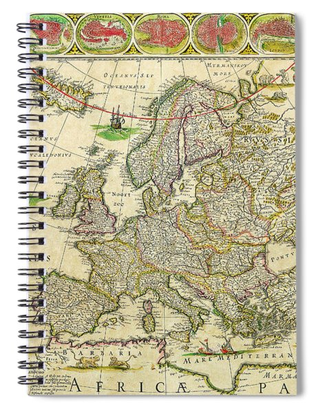 Antique Maps Of The World Map Of Europe Willem Blaeu C 1650 Spiral Notebook