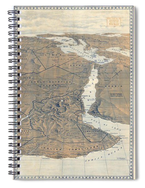 Antique Maps - Old Cartographic Maps - Abyssinia Relief Map, S.j Turner Spiral Notebook