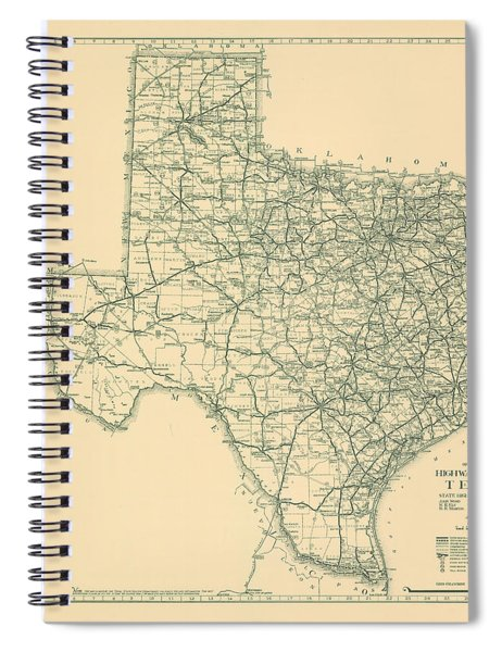 Antique Maps - Old Cartographic Maps - Antique Map Of The Highway System Of Texas, 1933 Spiral Notebook