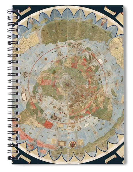 Antique Maps - Old Cartographic Maps - Flat Earth Map - Map Of The World Spiral Notebook