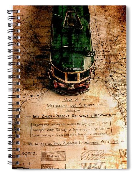 Antique Melbourne Travel Map Spiral Notebook