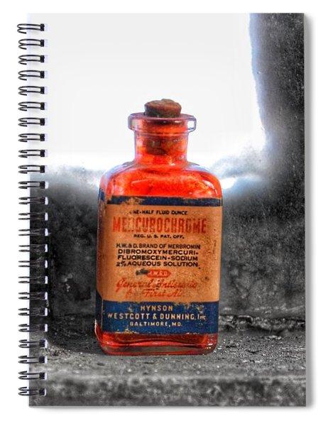 Antique Mercurochrome Hynson Westcott And Dunning Inc. Medicine Bottle - Maryland Glass Corporation Spiral Notebook