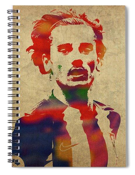 Antoine Griezmann Watercolor Portrait Spiral Notebook