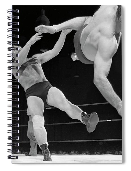 Antonino Rocca, Right, Drops Aldo Bogni With A Flying Kick, 1952 Spiral Notebook