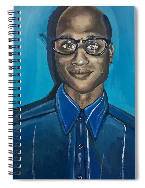 Smart Black Man Nerd Guy With Glasses Cartoon Art Painting Spiral Notebook by Ai P Nilson