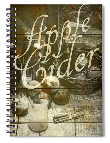 Apple Cider Sign Printed On Rustic Wood Planks Spiral Notebook