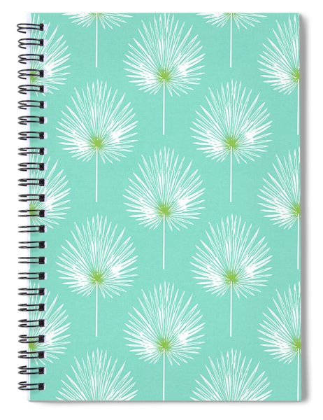 Aqua And White Palm Leaves- Art By Linda Woods Spiral Notebook