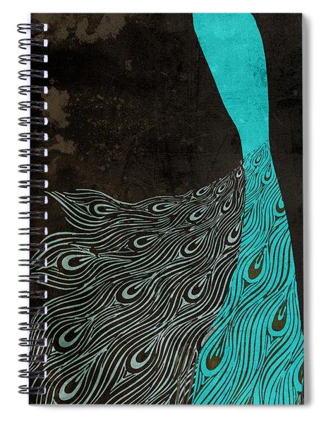 Aqua Peacock Art Nouveau Spiral Notebook