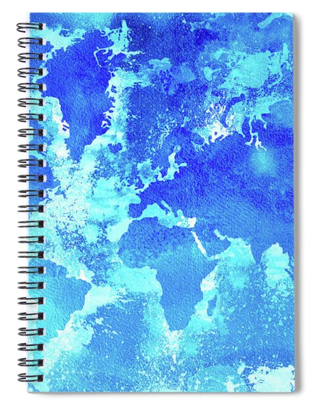 Aqua World Map Spiral Notebook