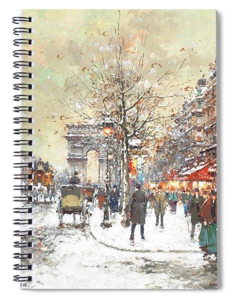 Arc De Triomphe, Avenue Champs-elysees, Paris Spiral Notebook