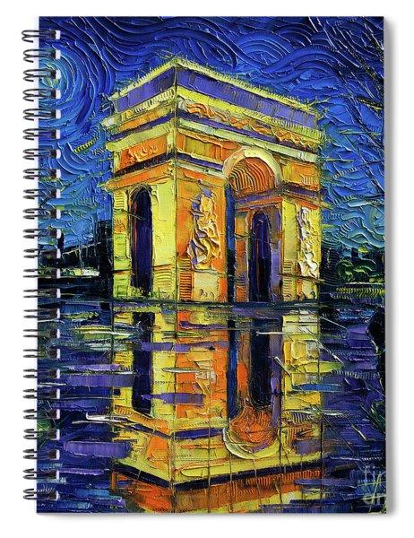 Arc De Triomphe Paris Mirroring Modern Impressionist Impasto Cityscape Oil Painting Spiral Notebook