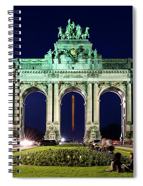 Spiral Notebook featuring the photograph Arcade Du Cinquantenaire At Night - Brussels by Barry O Carroll