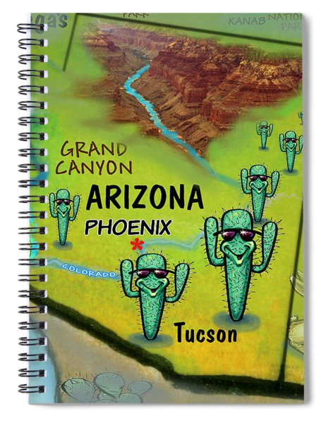 Arizona Fun Map Spiral Notebook