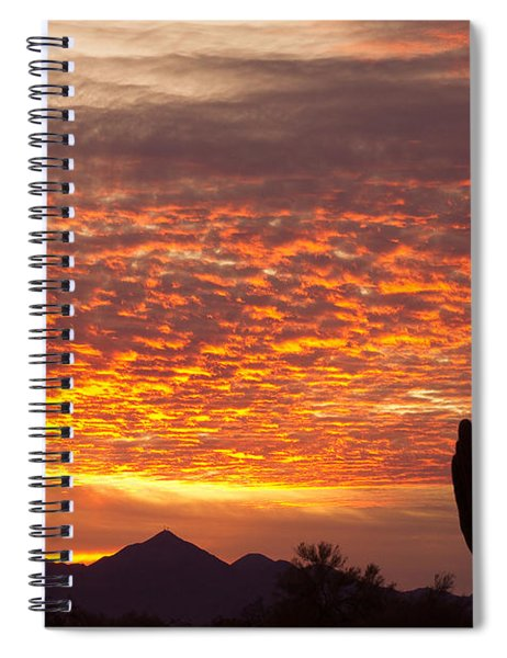 Arizona November Sunrise With Saguaro   Spiral Notebook